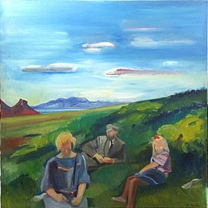 Baenka & Pabbi & Me | Oil on Canvas | 50 x 50 inches | ca 1980