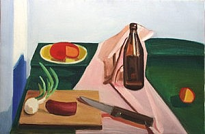 Cheese, Sausage, Bottle and Knife | Oil on Canvas | 18 x 27 inches | ca. 1980