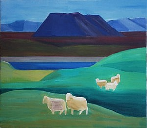 Five Sheep in landscape | Oil on Canvas | 29 x 33 inches  | ca. 1990