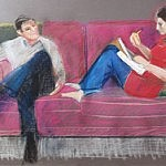 Frank O'Brien and Temma | Pastel on Paper | 26 x 40 inches  | ca.1972