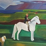 Horse and Rider with dog in Mosfellssveit | Oil on Canvas | 52 x 71 inches | ca. 1972