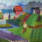 Icelandic Village | Oil on Canvas | 49.6 x 29 inches  | ca. 1940
