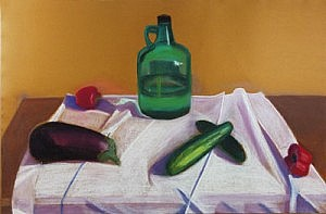 Still Life with Eggplant and Wine Jug | Pastel on Paper | 26 x 40 inches | ca. 1975