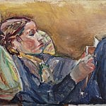 Temma in Braids, Reading | Oil on Canvas | 23 x 26 inches | 1957