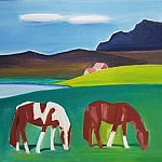 Two Horses in Landscape | Oil on Canvas | 30 x 34 inches | ca.1990