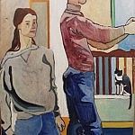 Ulla, Lee and Kisa | Oil on Canvas | 41 x 35 inches  | 1940
