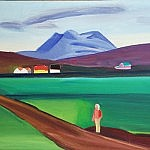 Girl in Iceland landscape | Oil on Canvas | 34 x 39 inches | ca.1995