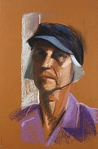 Self Portrait with Cap | Pastel on Paper | 18 x 12 inches  | ca. 1990