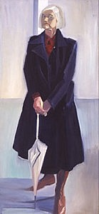 Self Portrait with Dark coat | Oil on Canvas | 68 x 31 inches  | 1994