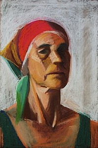 Self Portrait with Red Kerchief | Pastel on Paper | 18 x 12 inches | ca. 1990